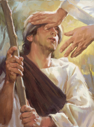 Christ Healing a Blind Man, by Sam Lawlor