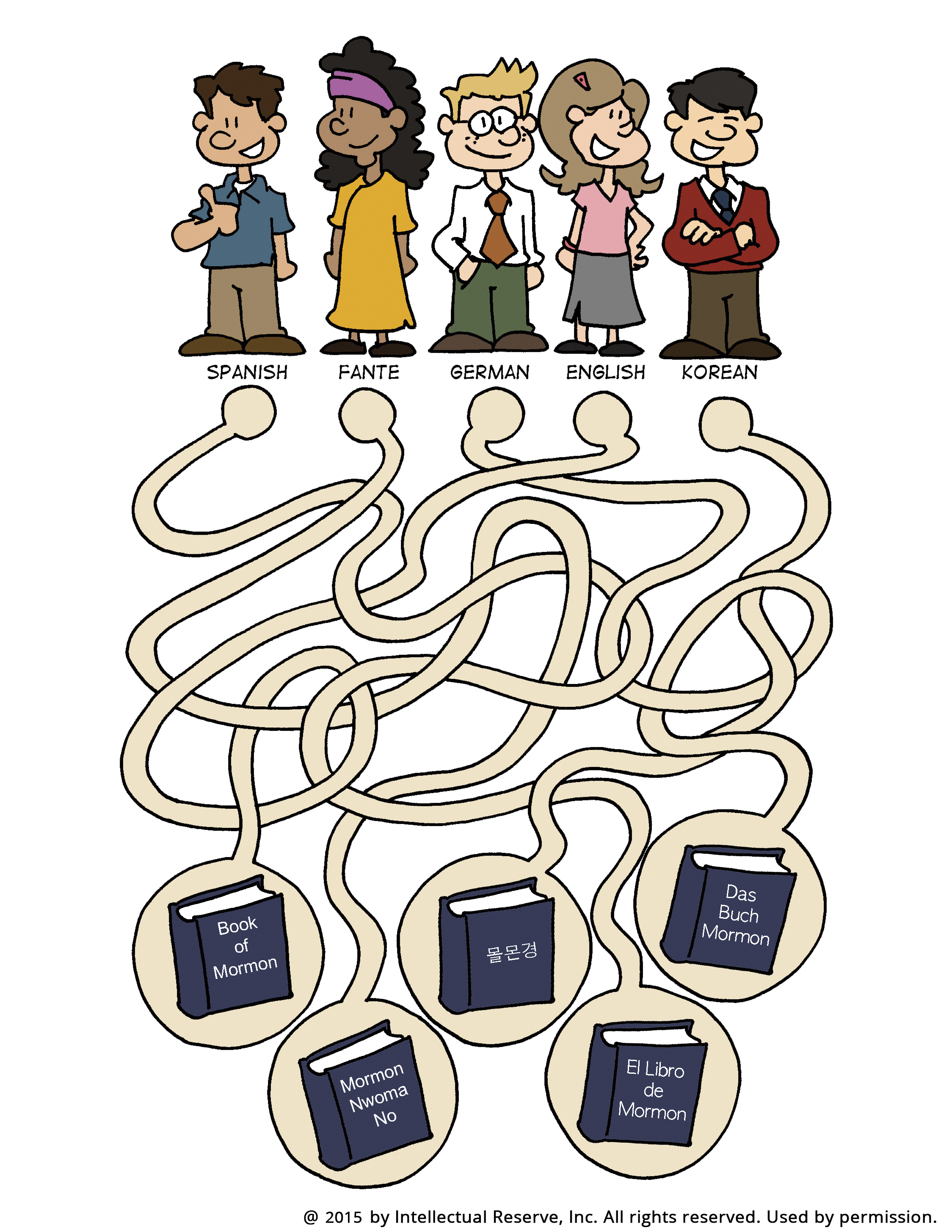 A maze starting with people who speak different languages and leading to copies of the Book of Mormon in their languages.