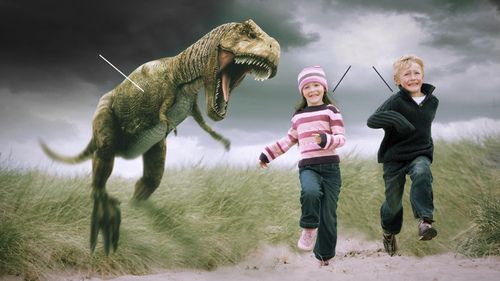 Dinosaur chasing children