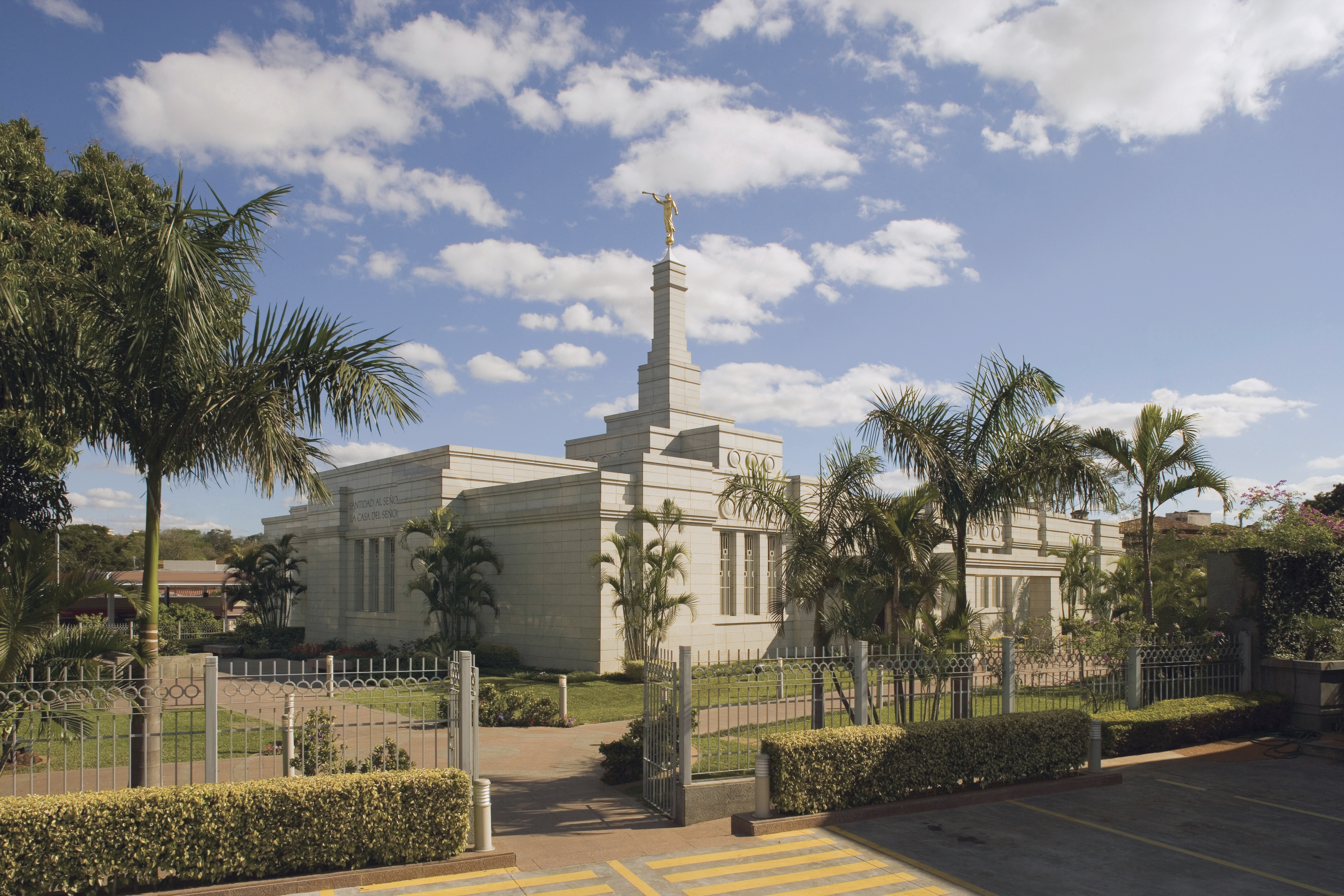 A view of the Asunción Paraguay Temple and grounds during the day.