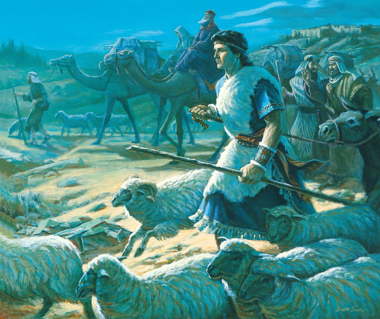 Lehi's Family Leaving Jerusalem, by Scott Snow (62238); GAK 301; Primary manual 3-40; Primary manual 4-05; 1 Nephi 2:1–7