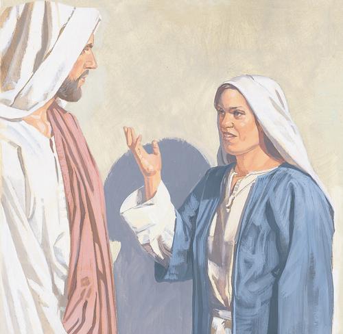 Mary talking to Jesus