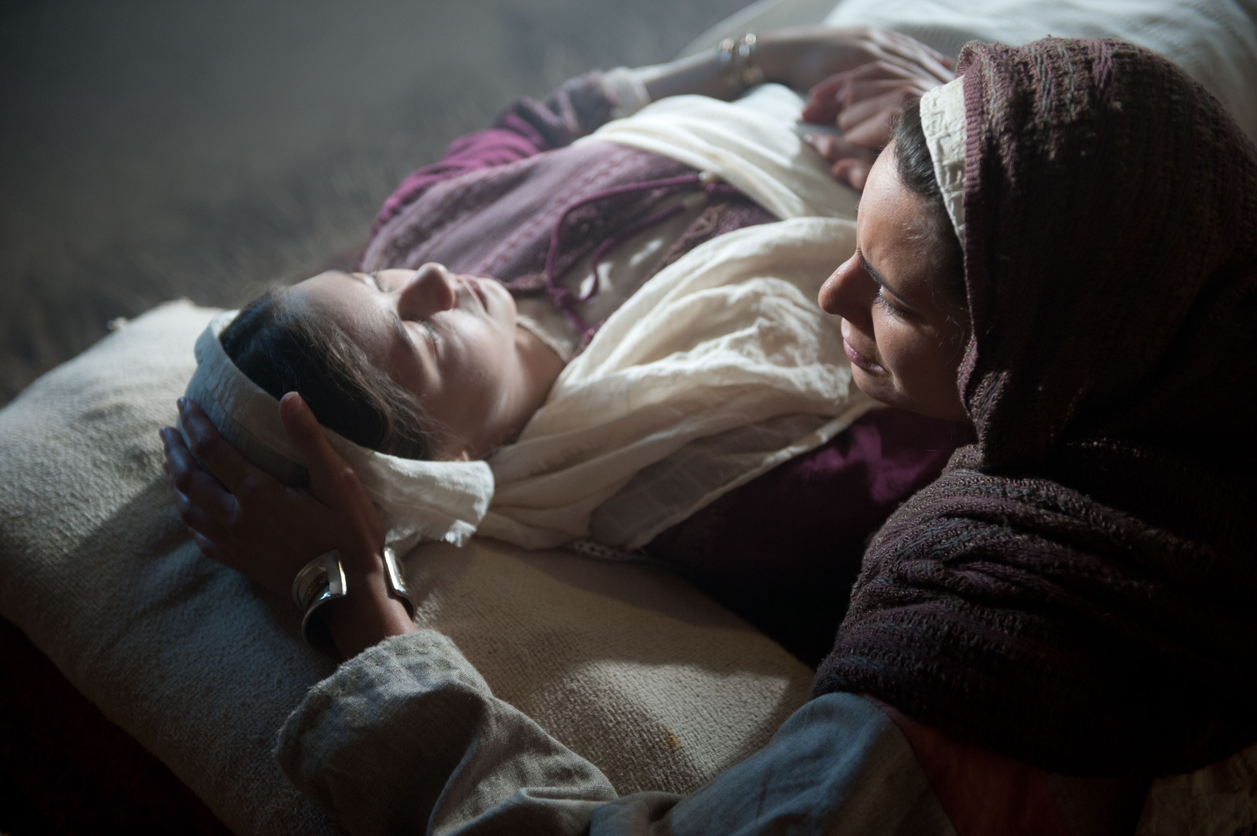 Jairus's wife mourning the death of her daughter.