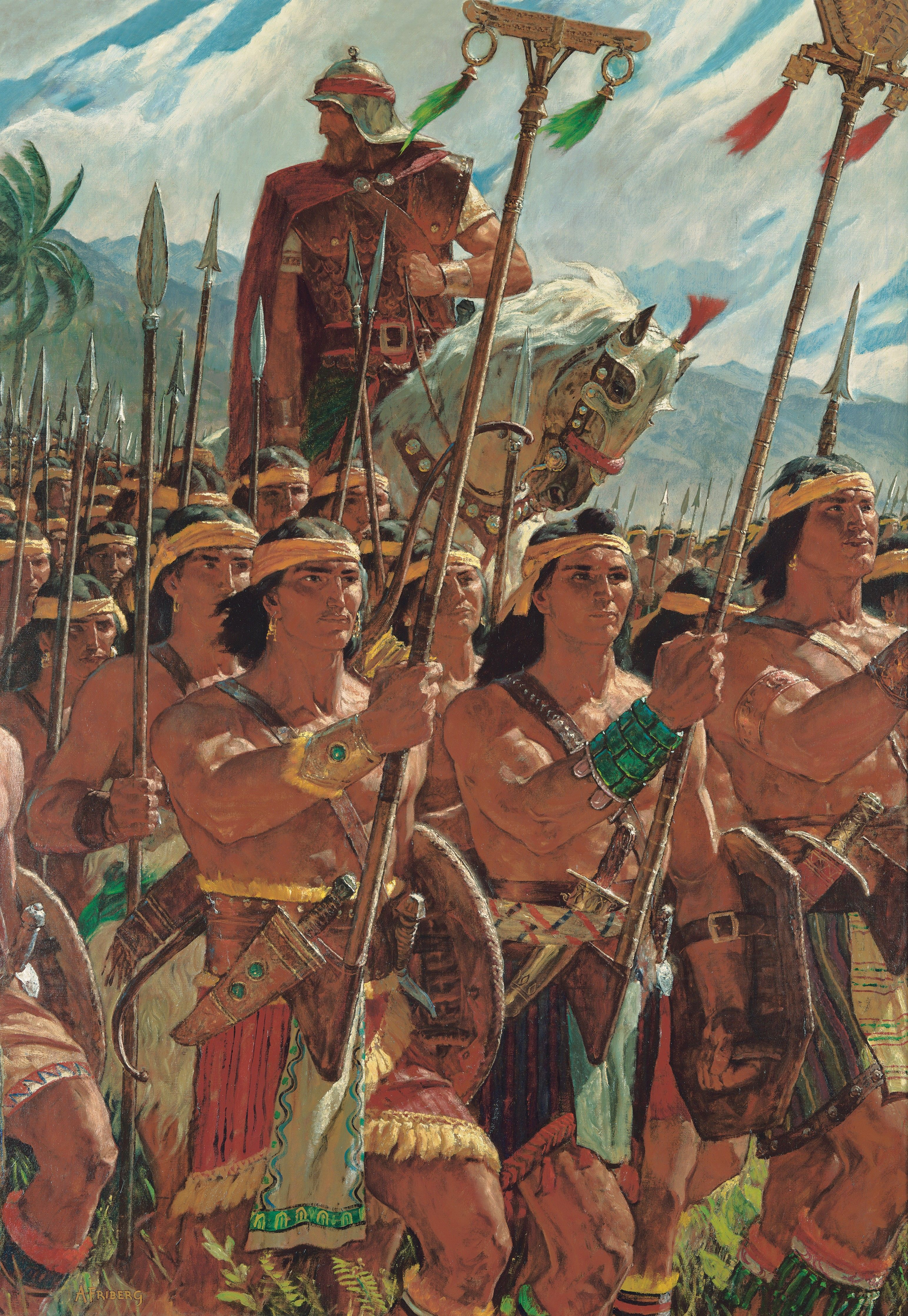 Two Thousand Young Warriors (Two Thousand Stripling Warriors), by Arnold Friberg (62050); GAK 313; GAB 80; Primary manual 1-65; Primary manual 3-38; Primary manual 4-40; Alma 53:10–22; 56; 57:19–27