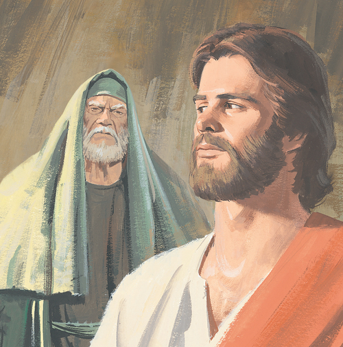 Jesus standing with man