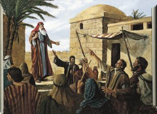 Lehi Prophesying to the People of Jerusalem (Lehi Preaching in Jerusalem)