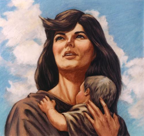 Eve holding baby