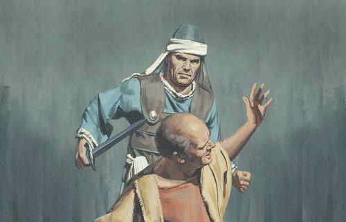 soldier threatening man