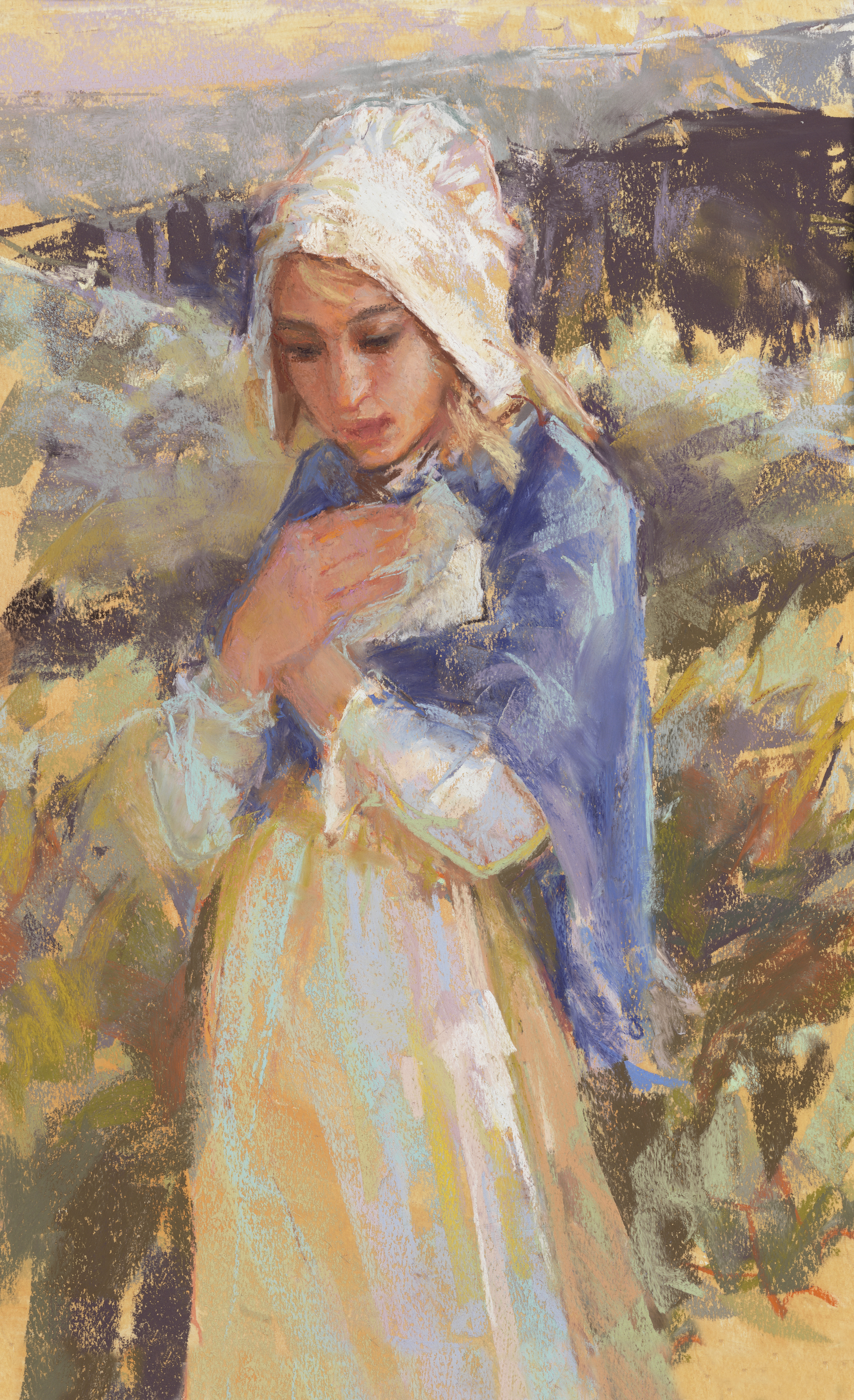 A painting of a pioneer girl by Julie Rogers.