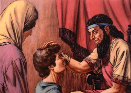 Israelite king speaking to boy