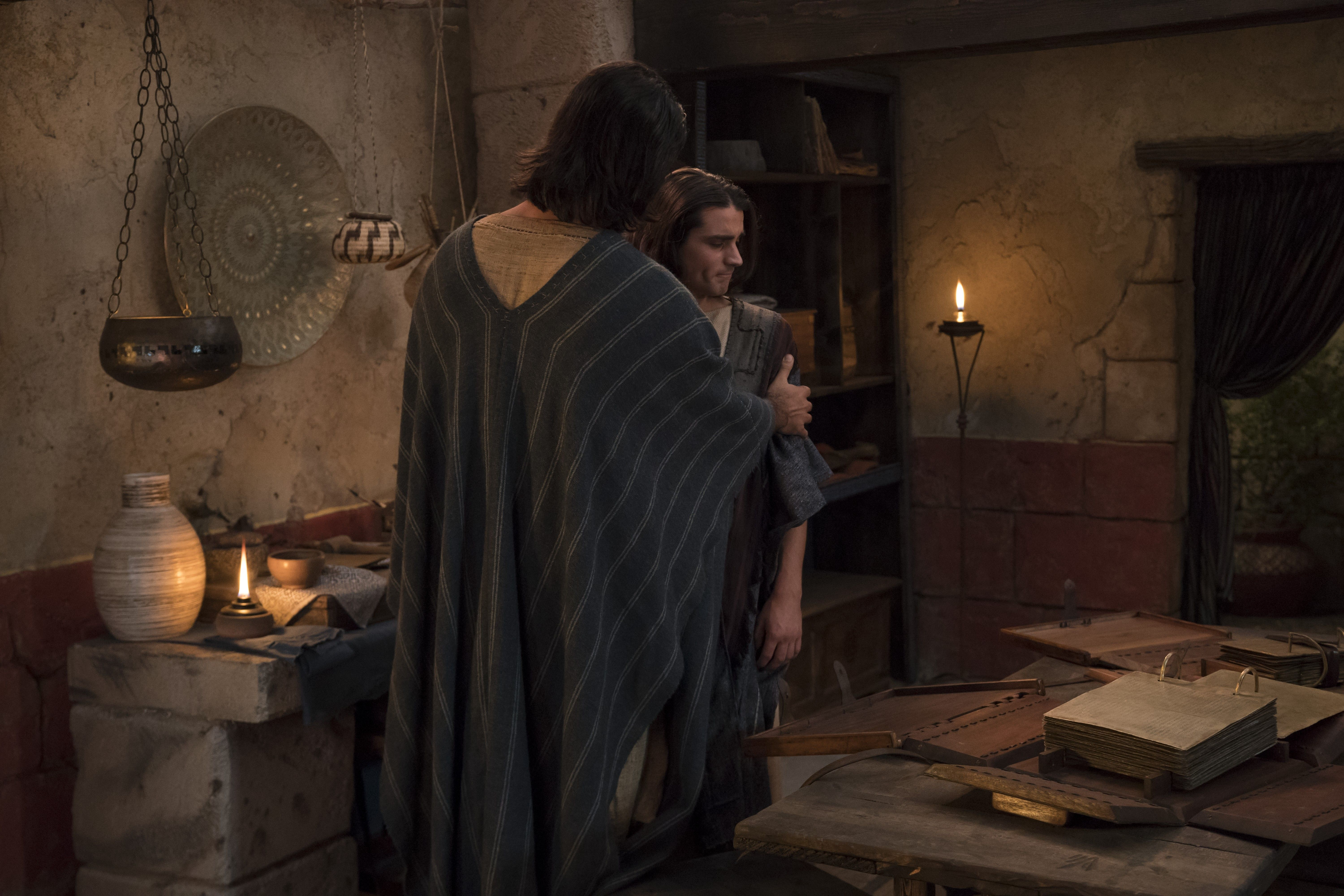 Corianton is greeted by his father, Alma the Younger, in the land of Zarahemla.