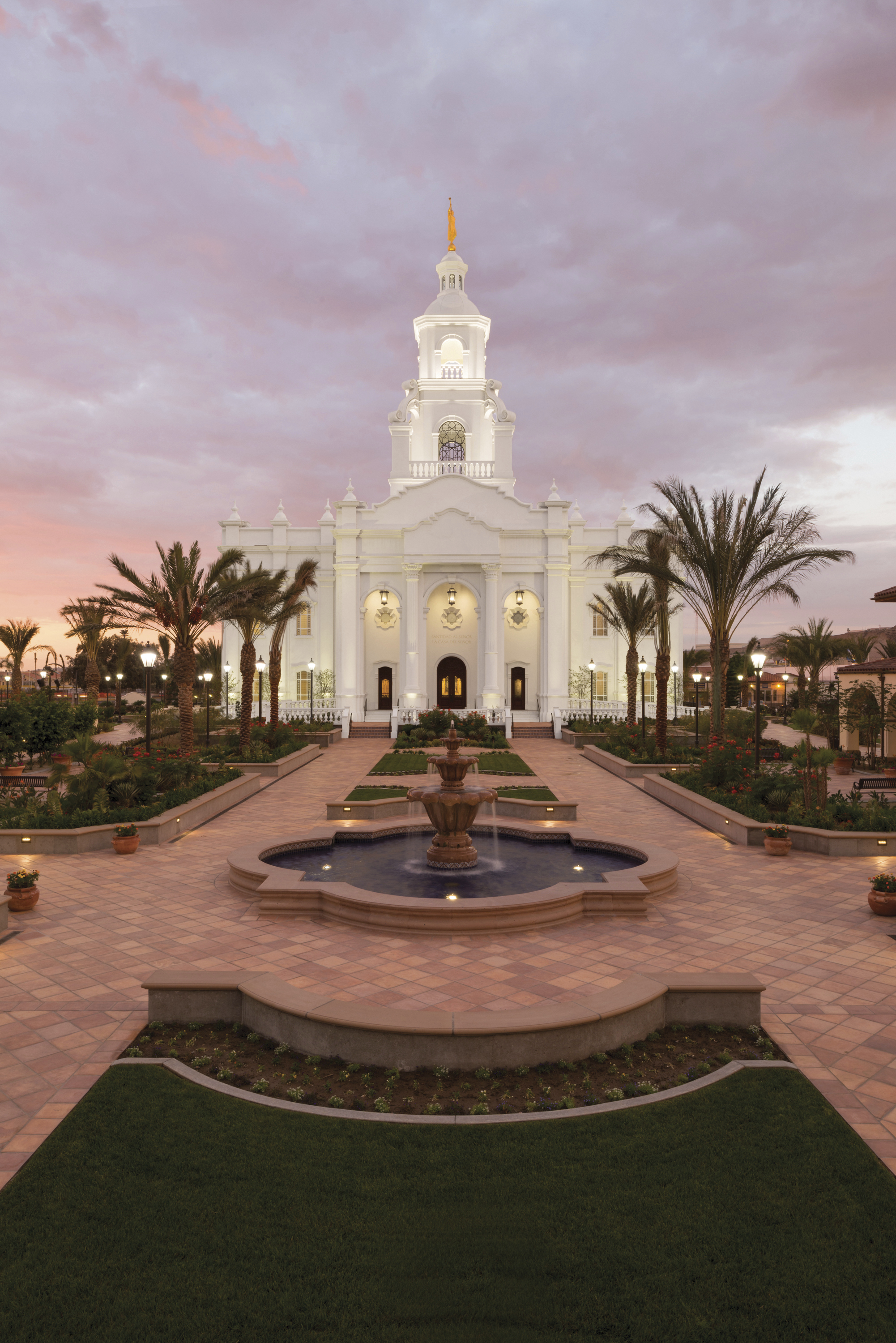 A sunset behind the Tijuana Mexico Temple.
