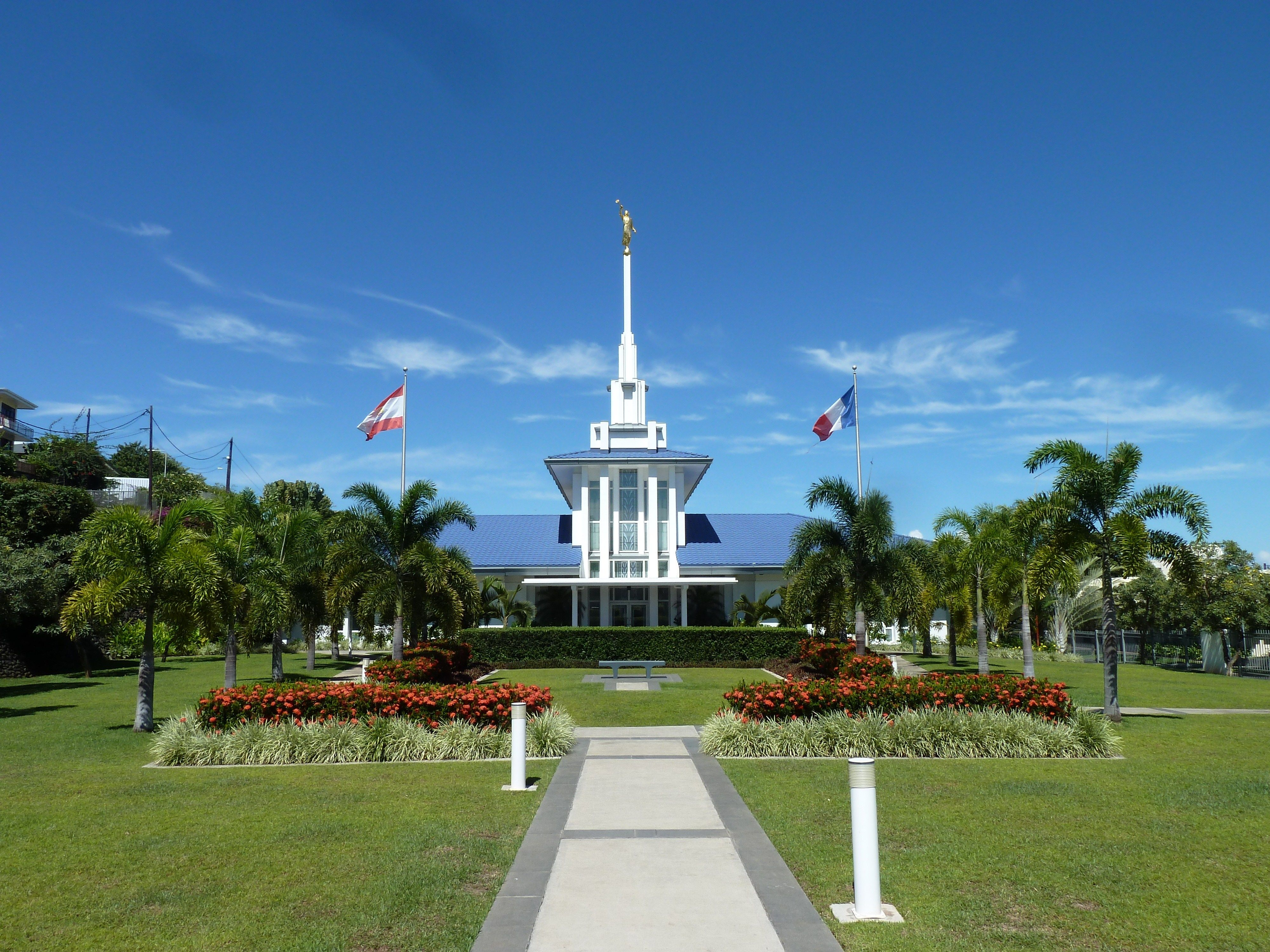 The front of the Papeete Tahiti Temple and grounds.