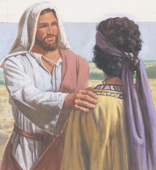 Jesus talking to young man