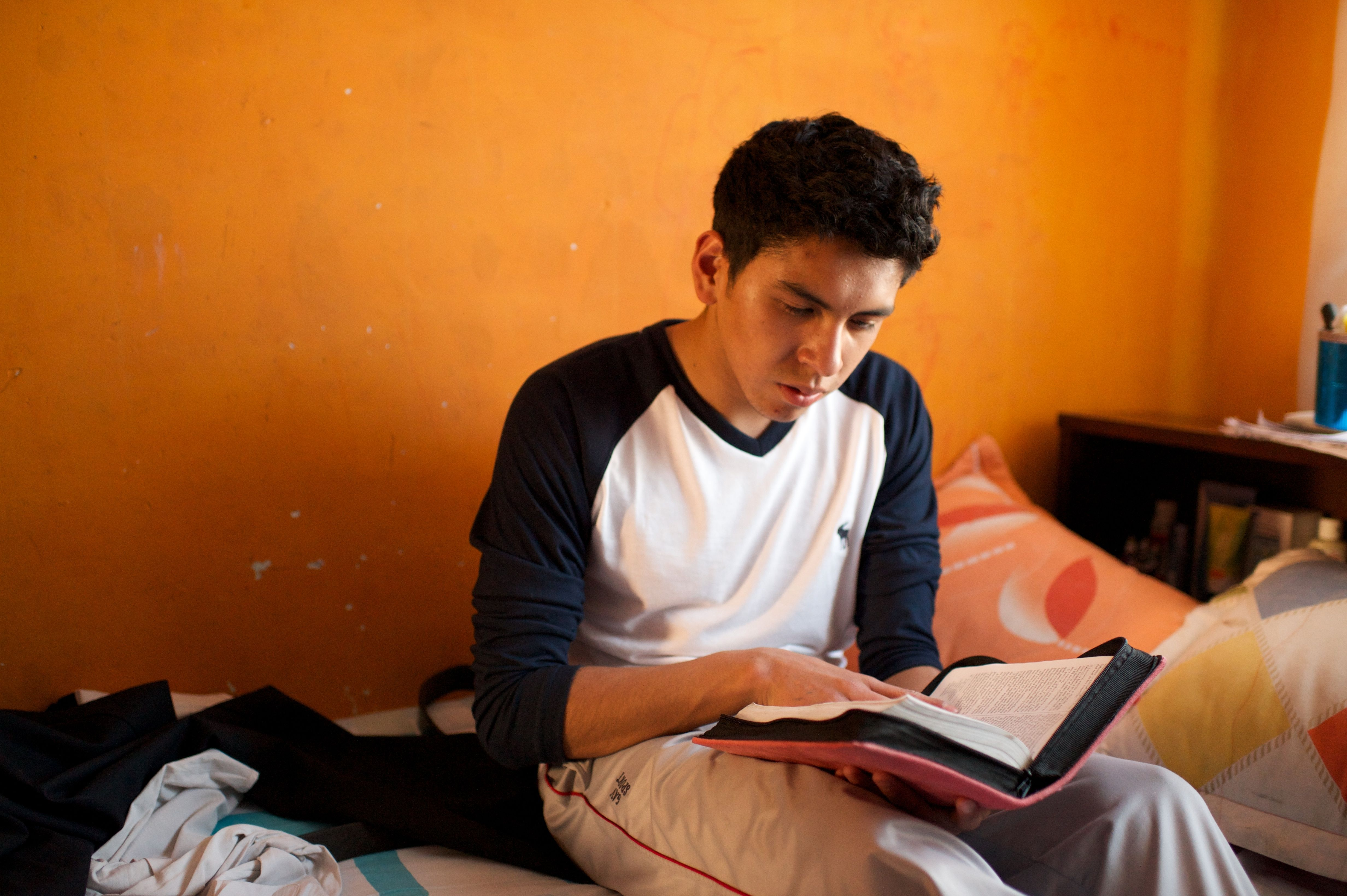 A young man studying in Bolivia.