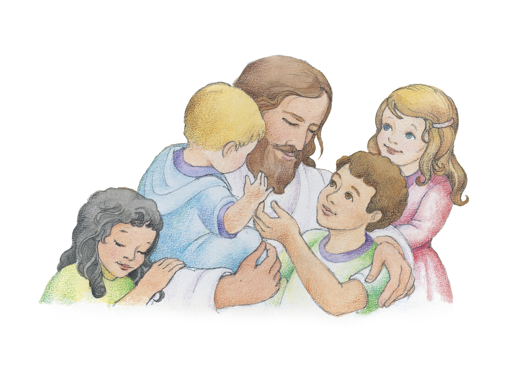 "Jesus hugging four children. From the Children's Songbook, page 82, ""When He Comes Again""; watercolor illustration by Phyllis Luch."