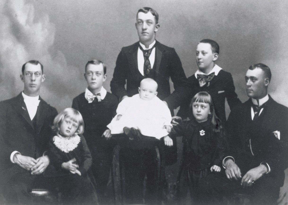 George Albert Smith on the far left, with his brothers and sisters. Teachings of Presidents of the Church: George Albert Smith (2011), xiii