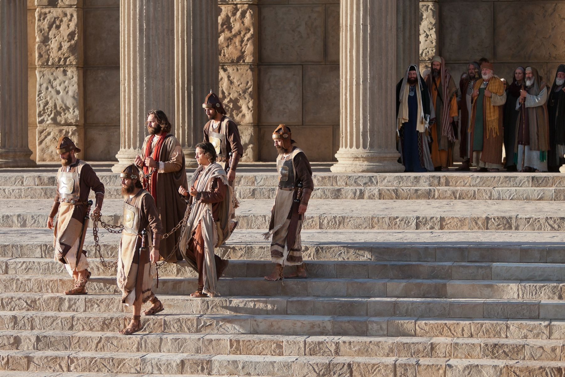 Acts 3:12–26, 4:1–3, Peter is arrested by soldiers