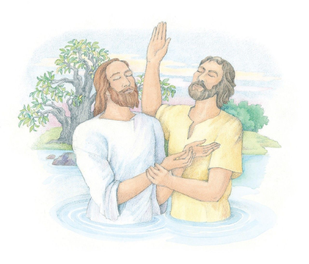 """Jesus being baptized by John the Baptist. From the Children's Songbook, page 100, """"Baptism""""; watercolor illustration by Phyllis Luch."""