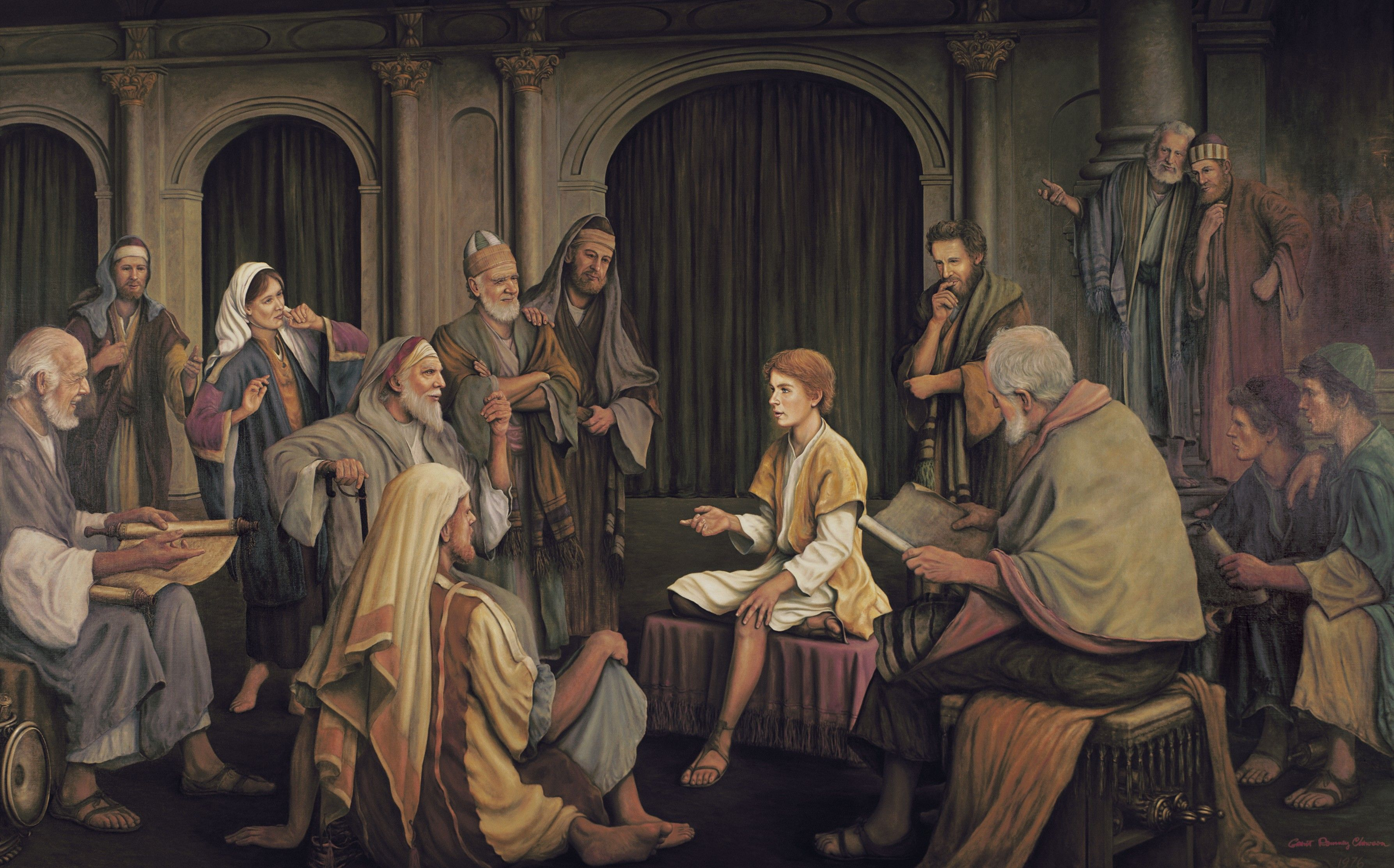 Jesus Teaching the Elders in the Temple, by Grant Romney Clawson
