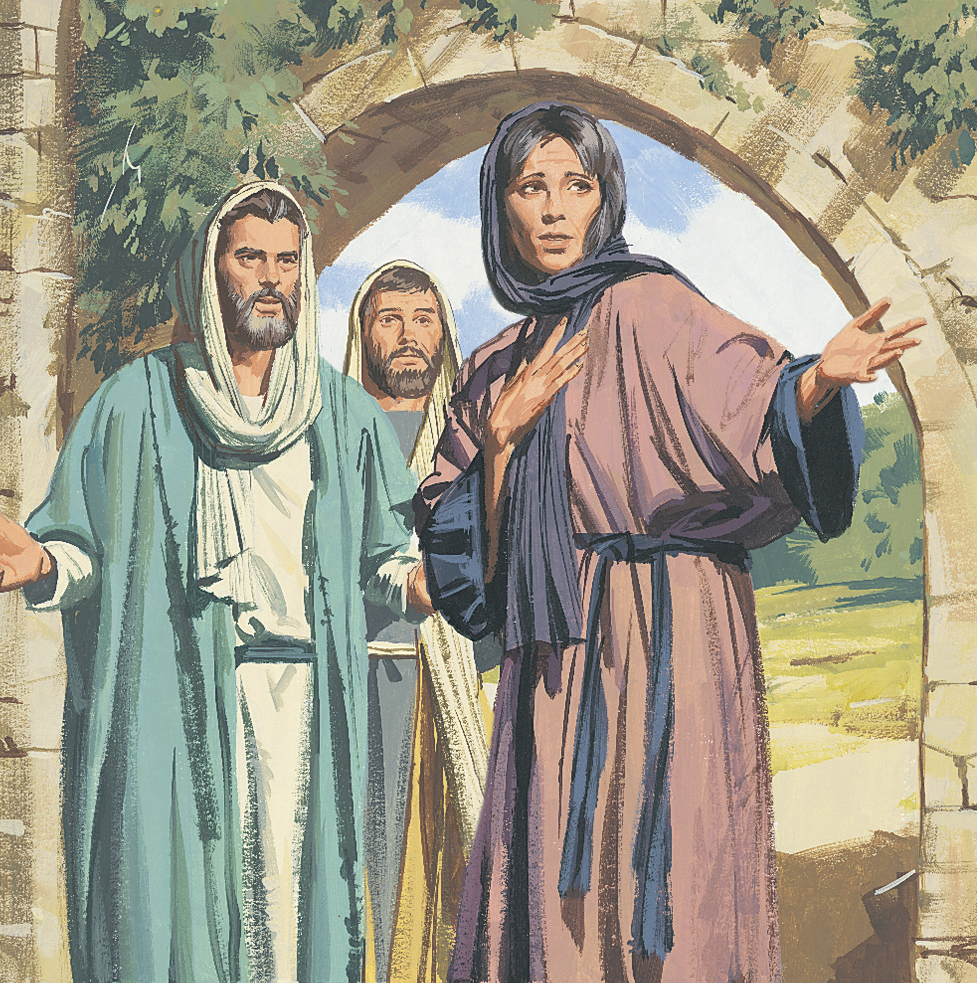 An illustration by Paul Mann of Mary Magdalene telling Peter and John that Christ's body is gone.