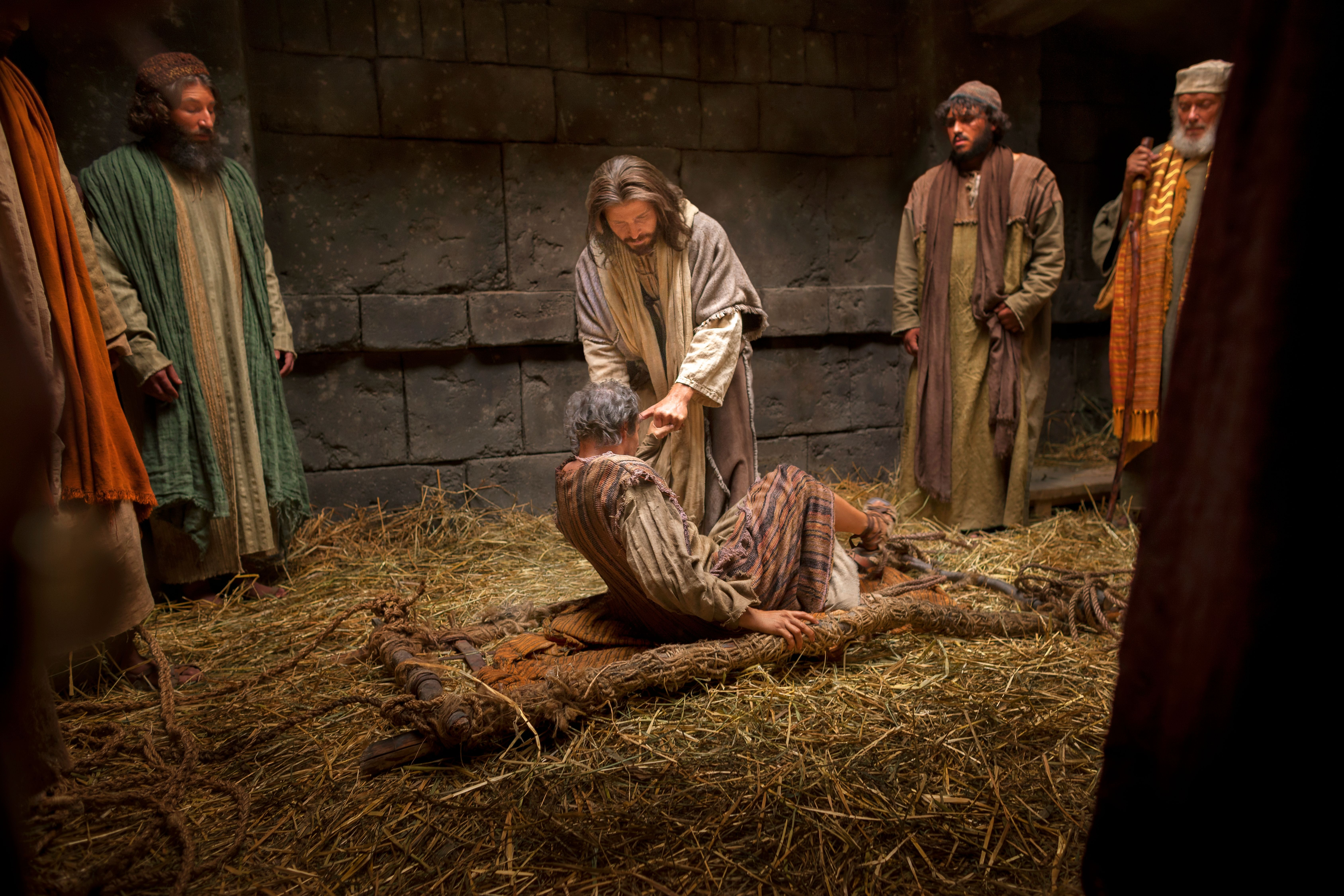 Christ healing a man with palsy.