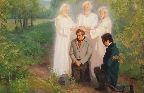 Peter, James, and John confer the Melchizedek Priesthood.