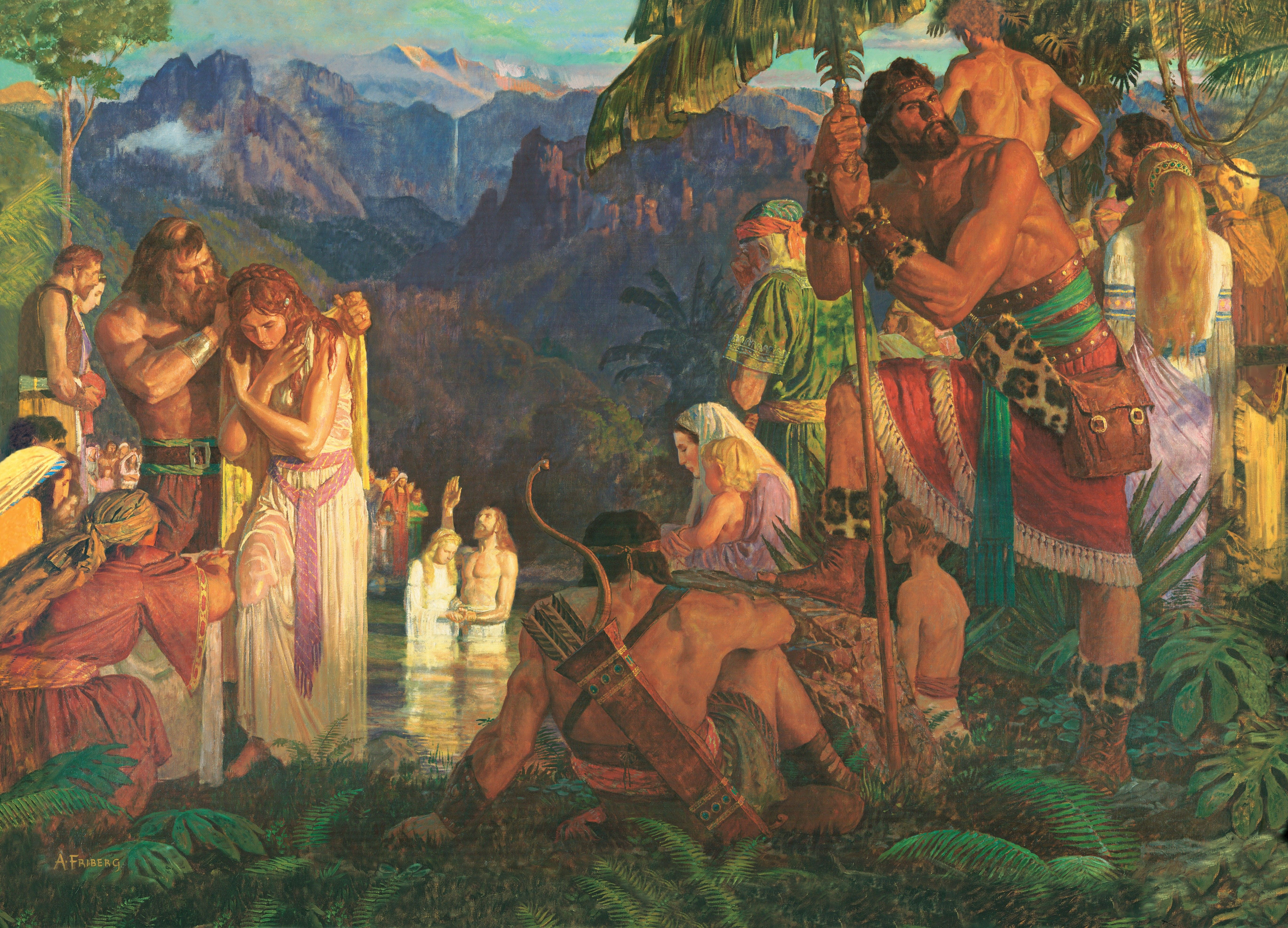 Alma Baptizes in the Waters of Mormon, by Arnold Friberg (62332); GAK 309; GAB 76; Primary manual 3-48; Primary manual 4-23; Mosiah 18:7–17