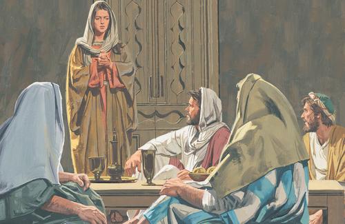 woman standing before Jesus