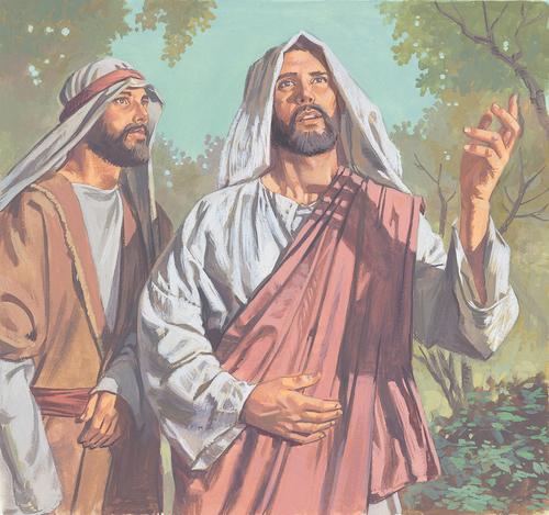 Jesus standing by Peter