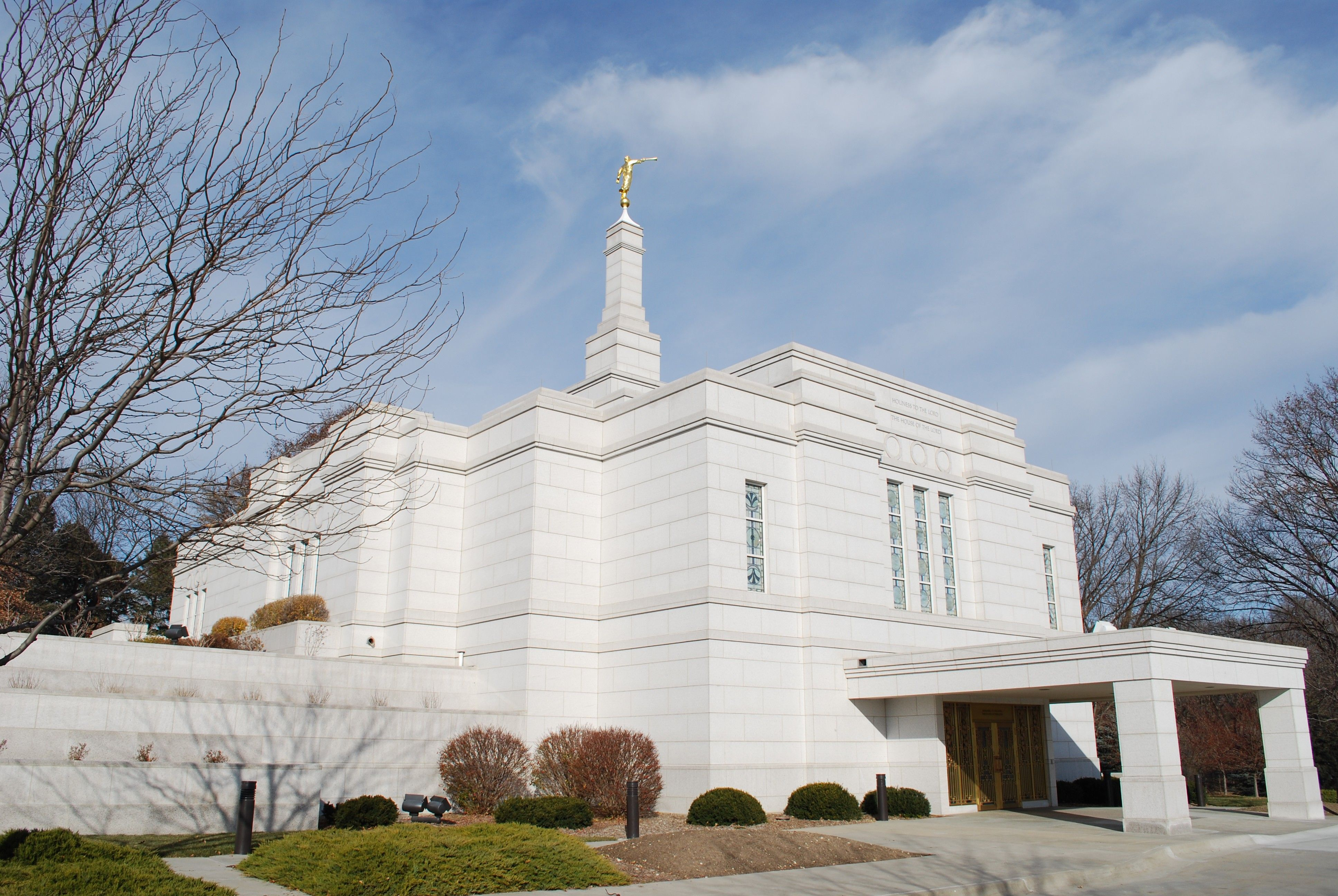 The entire Winter Quarters Nebraska Temple, including the entrance and scenery.