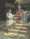 A painting by Scott M. Snow depicting Ammon standing on a yellow rug, holding a roll of parchment while talking to King Lamoni, who is sitting on his throne.