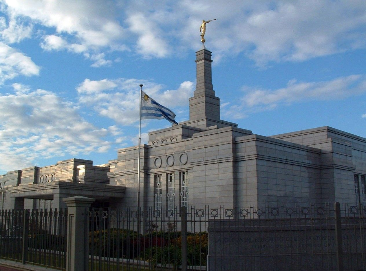 The Montevideo Uruguay Temple entrance, including the flag.