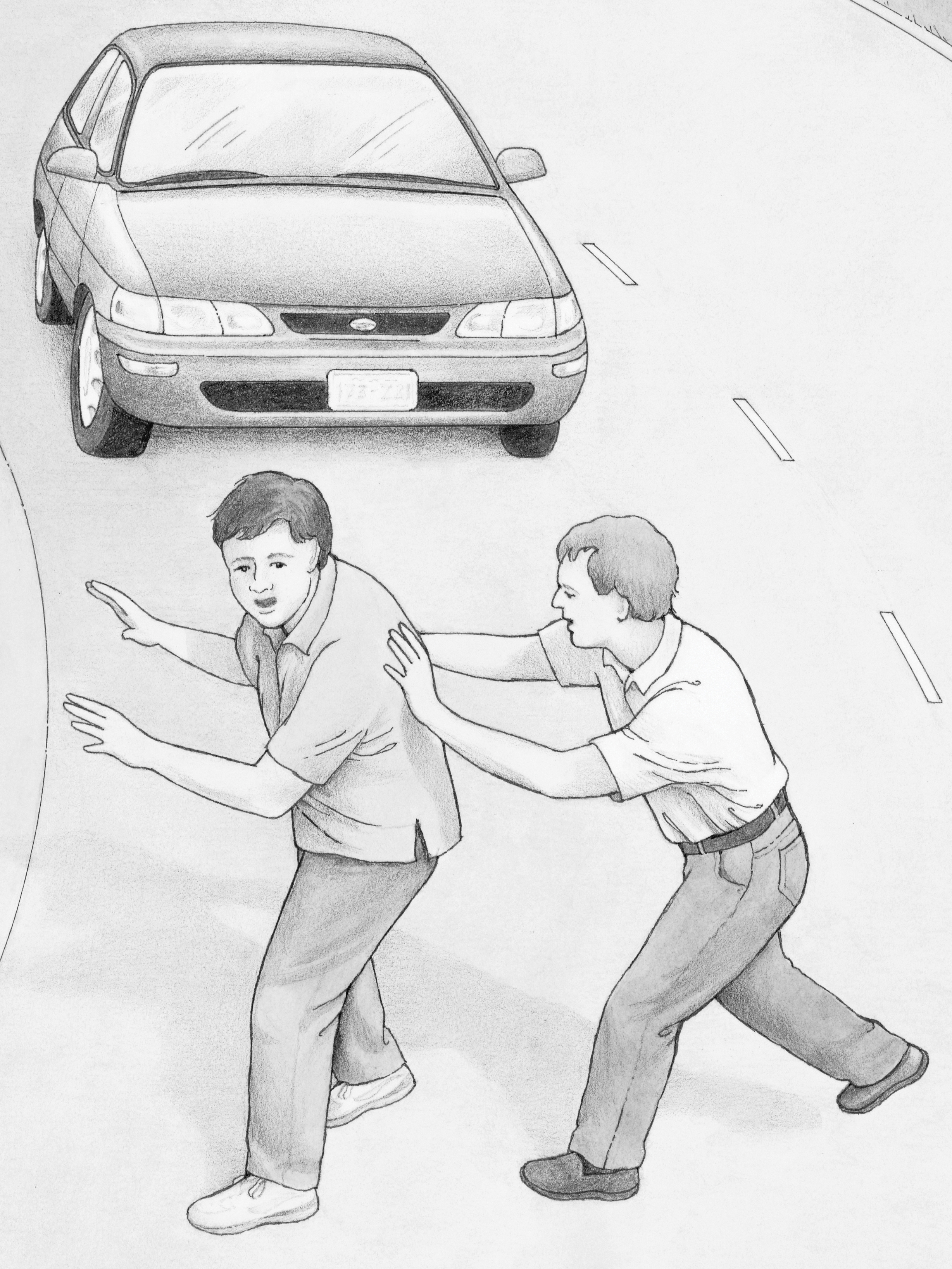 One boy pushing another out of the path of an oncoming car.