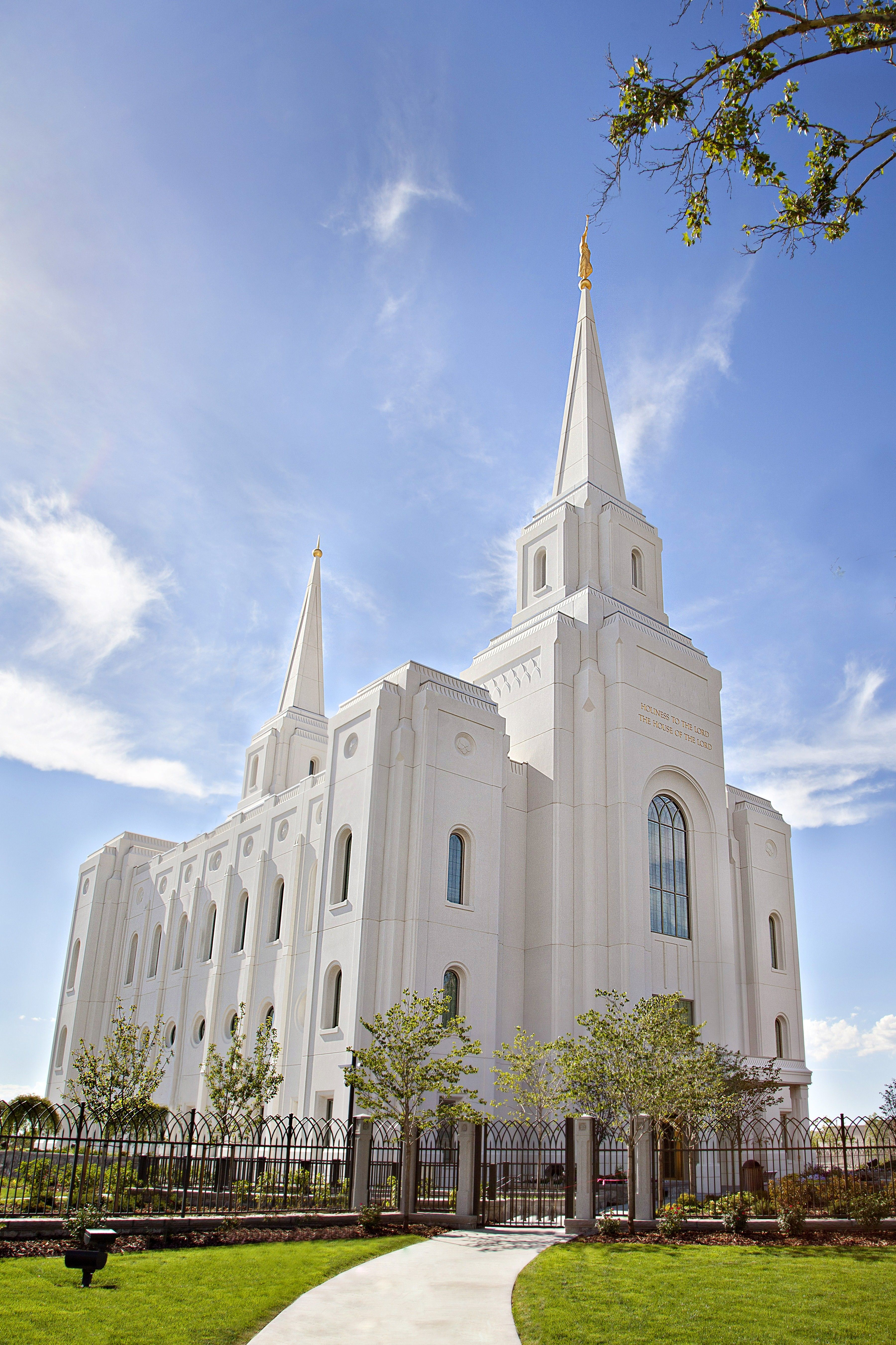 The Brigham City Utah Temple, including the scenery and entrance.