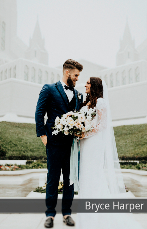 Bryce Harper with his wife