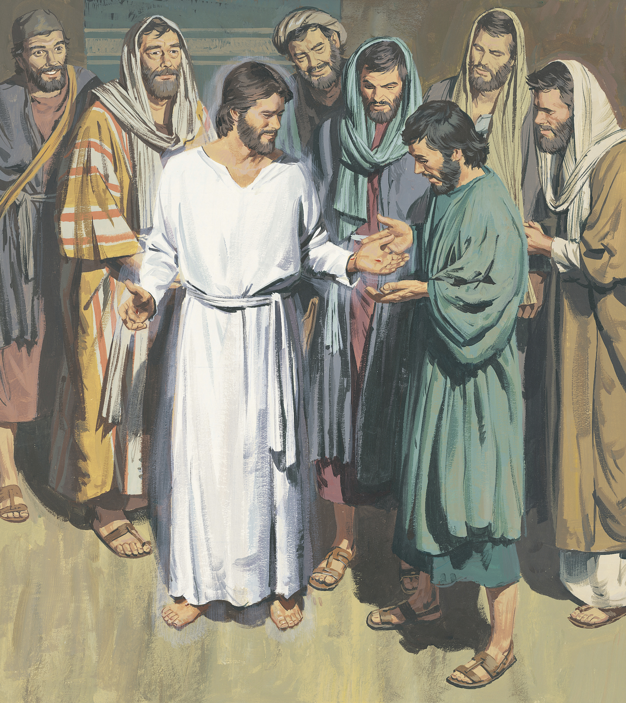 An illustration by Paul Mann depicting the resurrected Christ appearing to His Apostles.