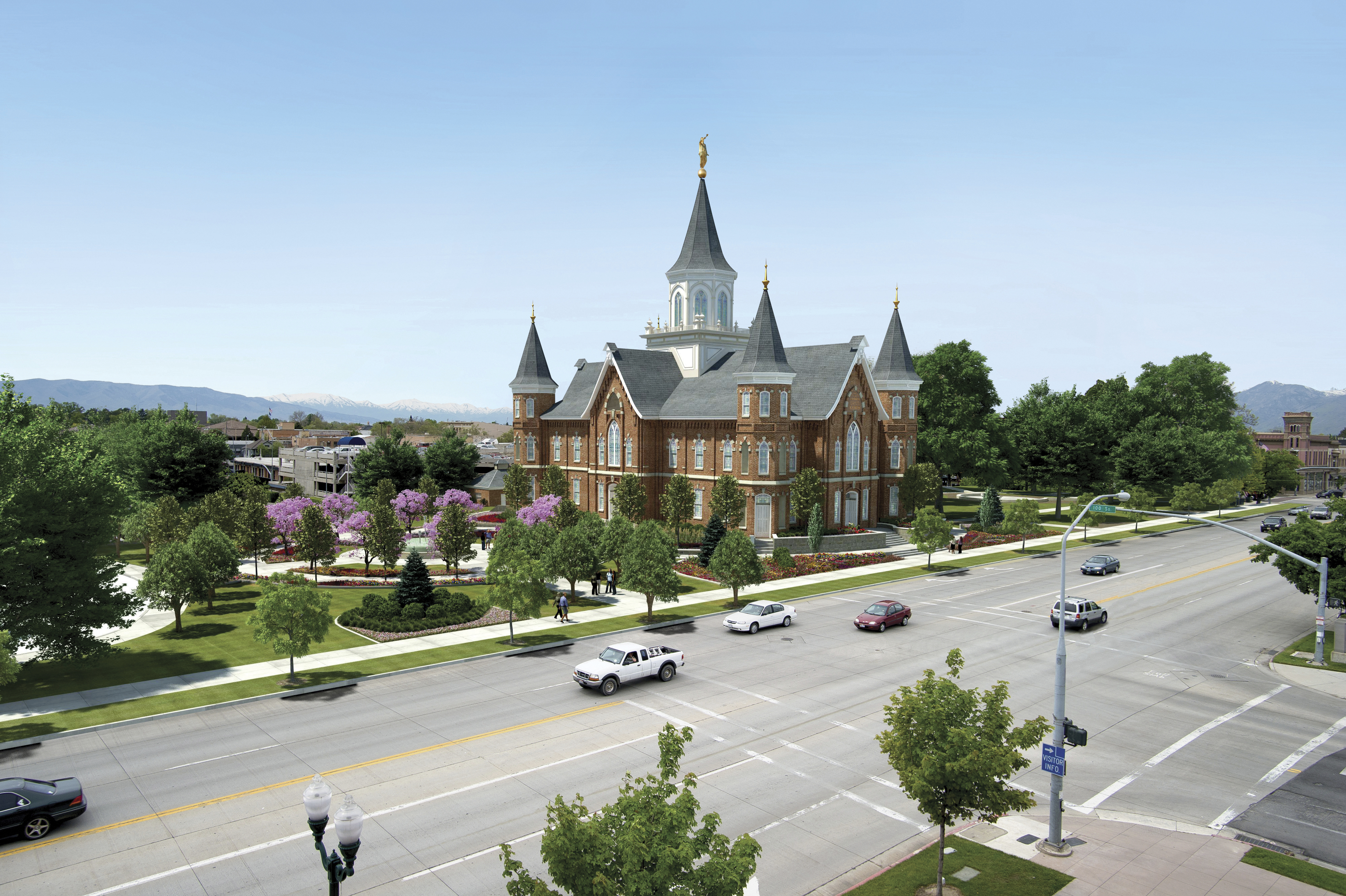 An artist's rendition of the Provo City Center Temple, including scenery.