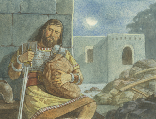 man sleeping with sword