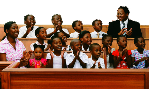 children and teachers in chapel