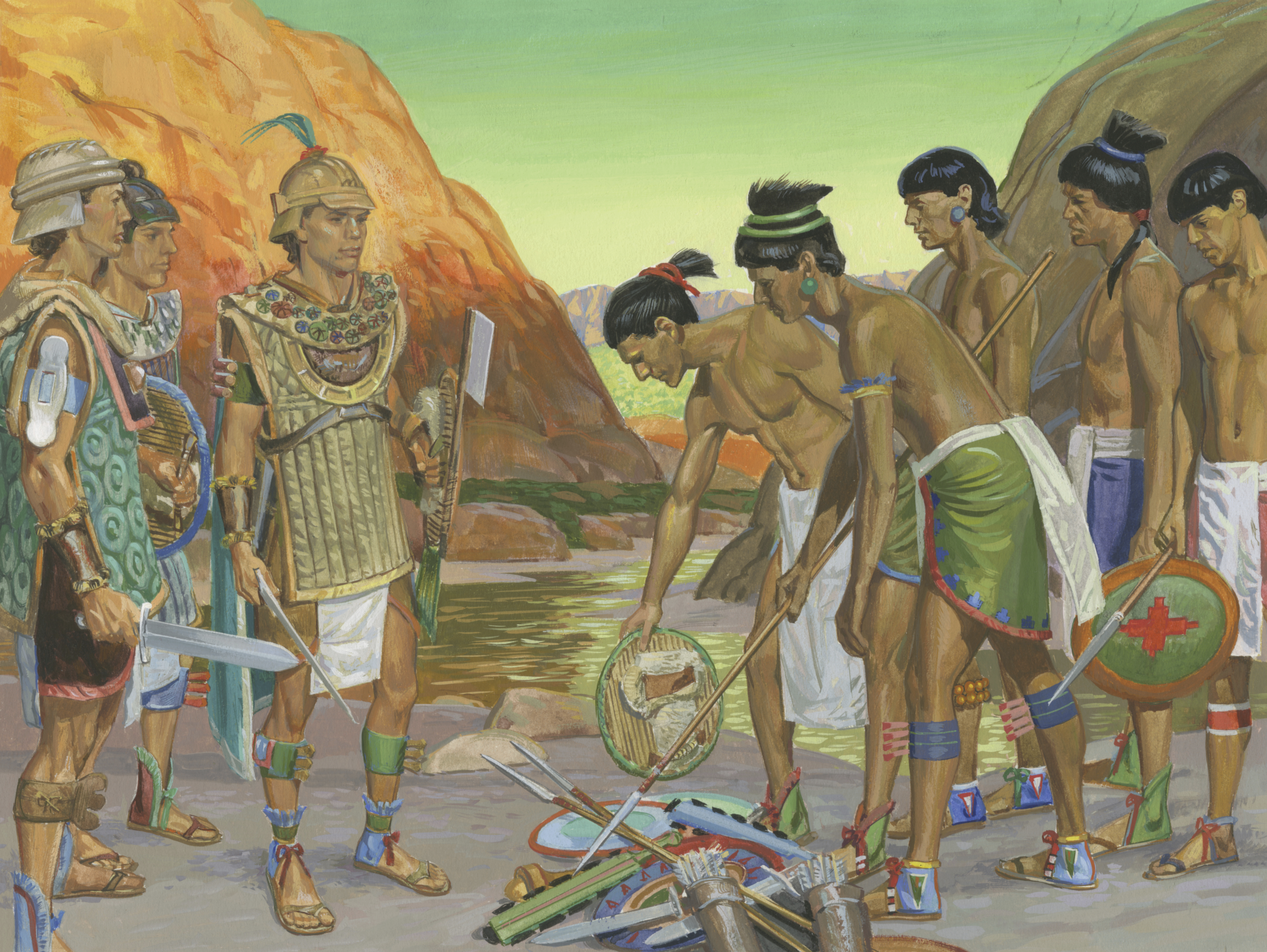 A painting by Jerry Thompson depicting the army of Zerahemnah throwing down their weapons; Primary manual 4-38