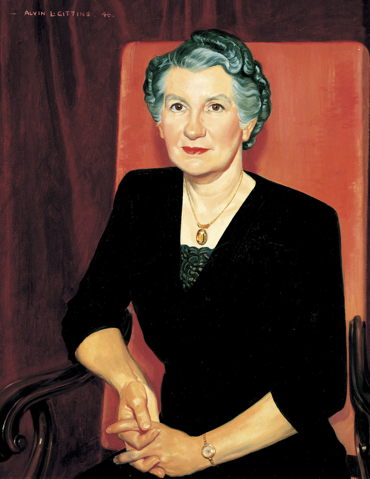 A portrait of Belle Smith Spafford, who was the ninth general president of the Relief Society from 1945 to 1974; painted by Alvin Gittins.