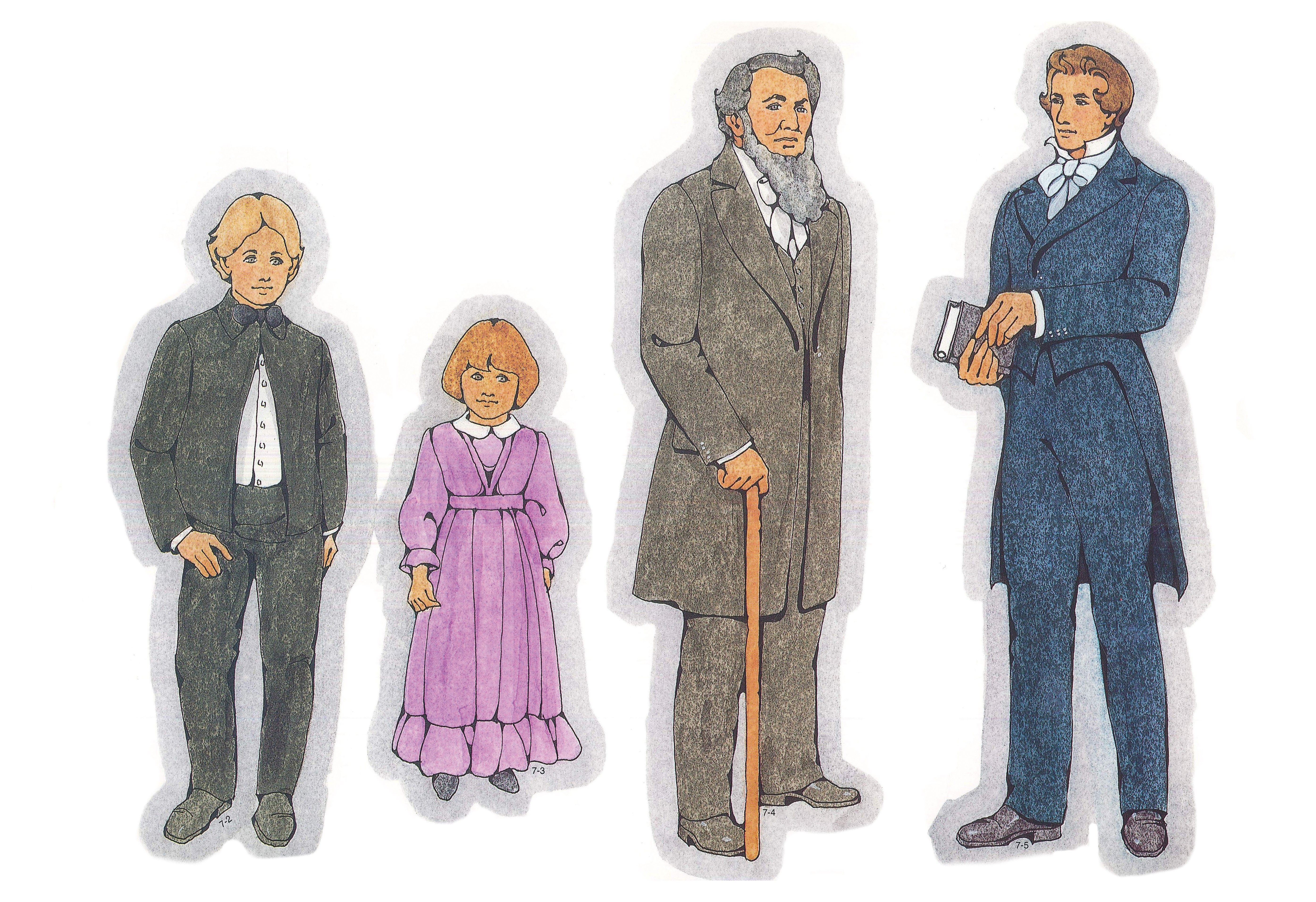 Primary Visual Aids: Cutouts 7-2, Young Pioneer Boy; 7-3, Young Pioneer Girl; 7-4, Brigham Young; 7-5, Joseph Smith.
