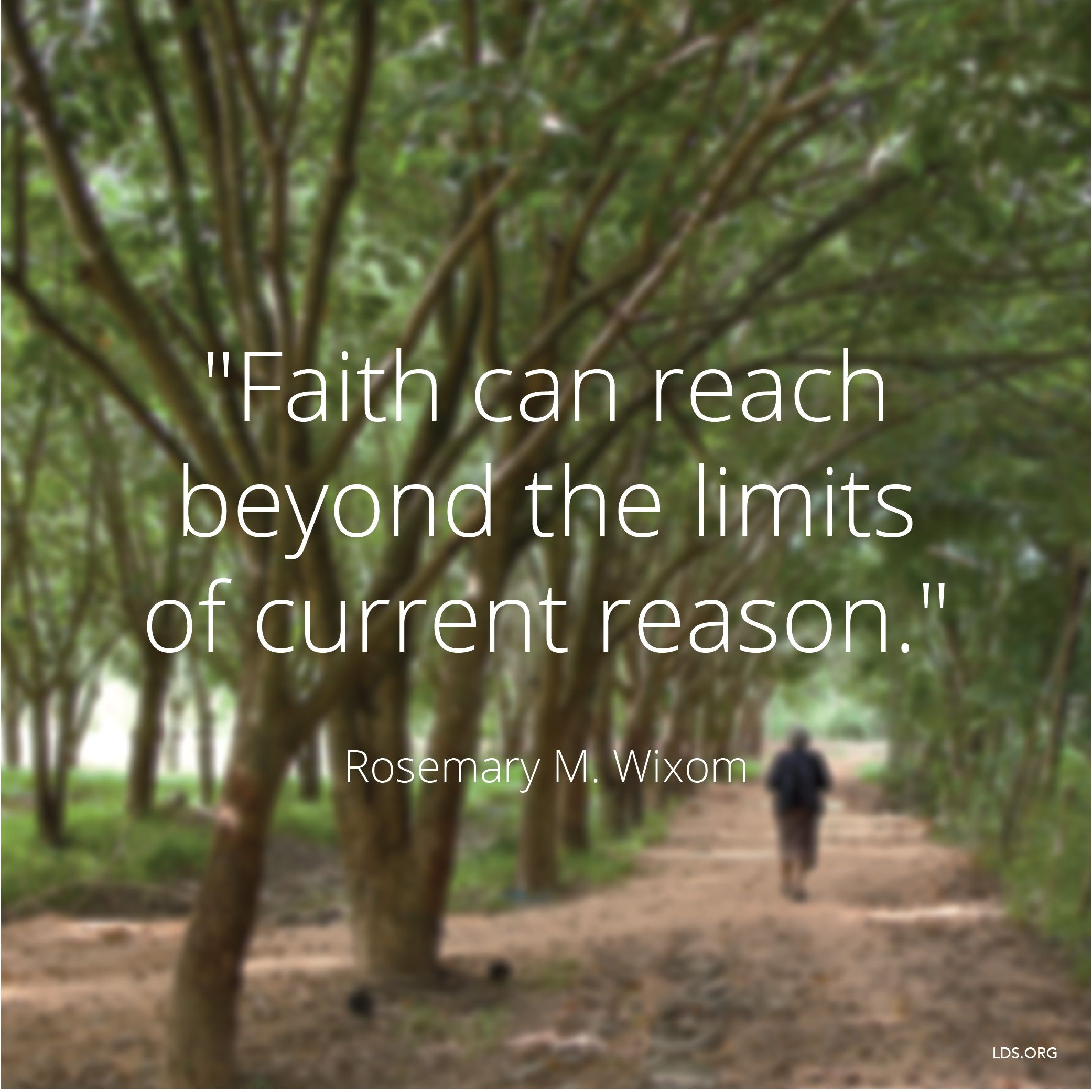 """""""Faith can reach beyond the limits of current reason.""""—Sister Rosemary M. Wixom, """"Returning to Faith"""""""