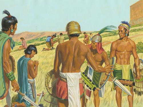 Lamanites putting down weapons