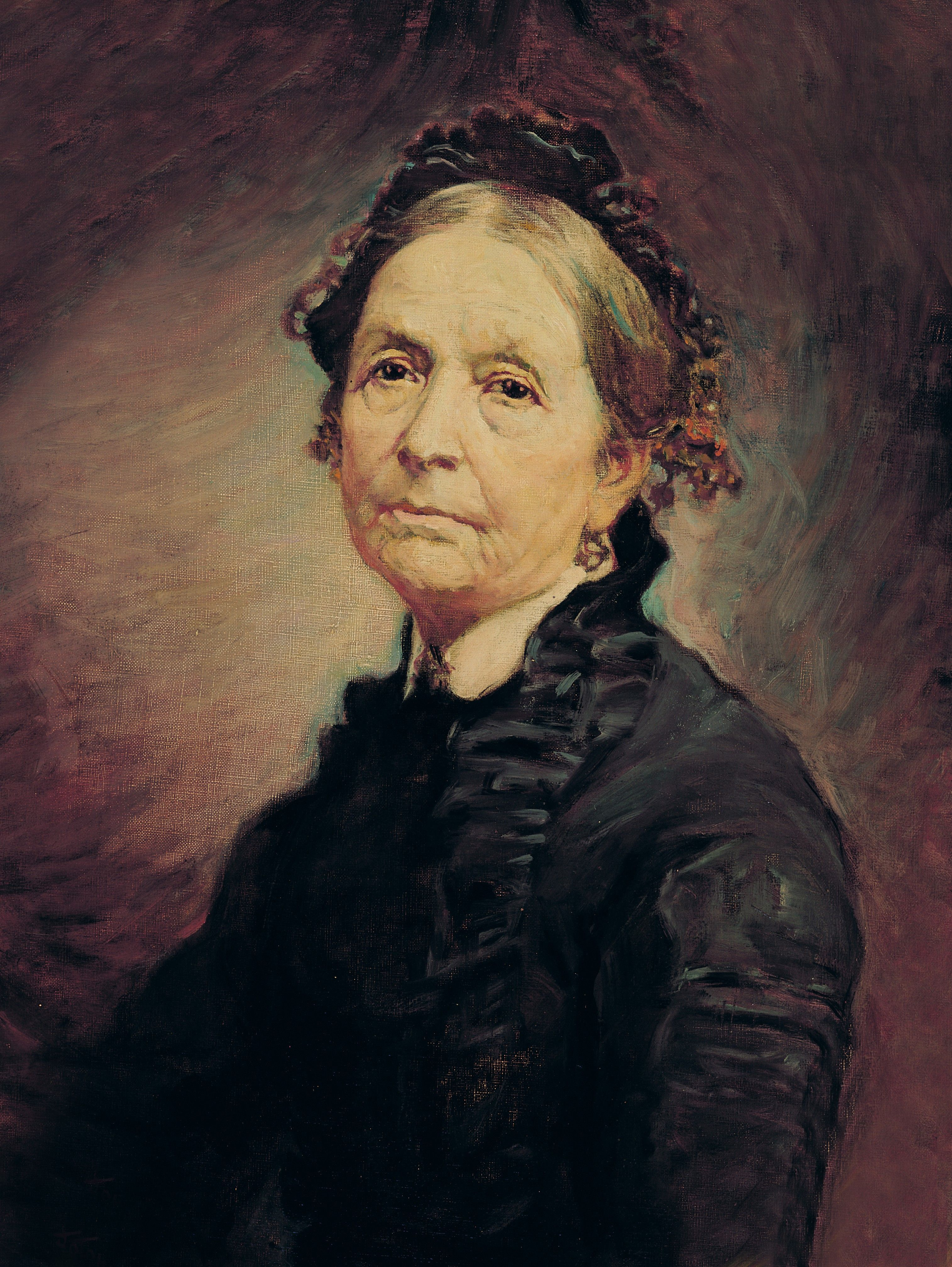 A portrait of Eliza R. Snow, the second general president of the Relief Society from 1866 to 1887; painted by John Willard Clawson.