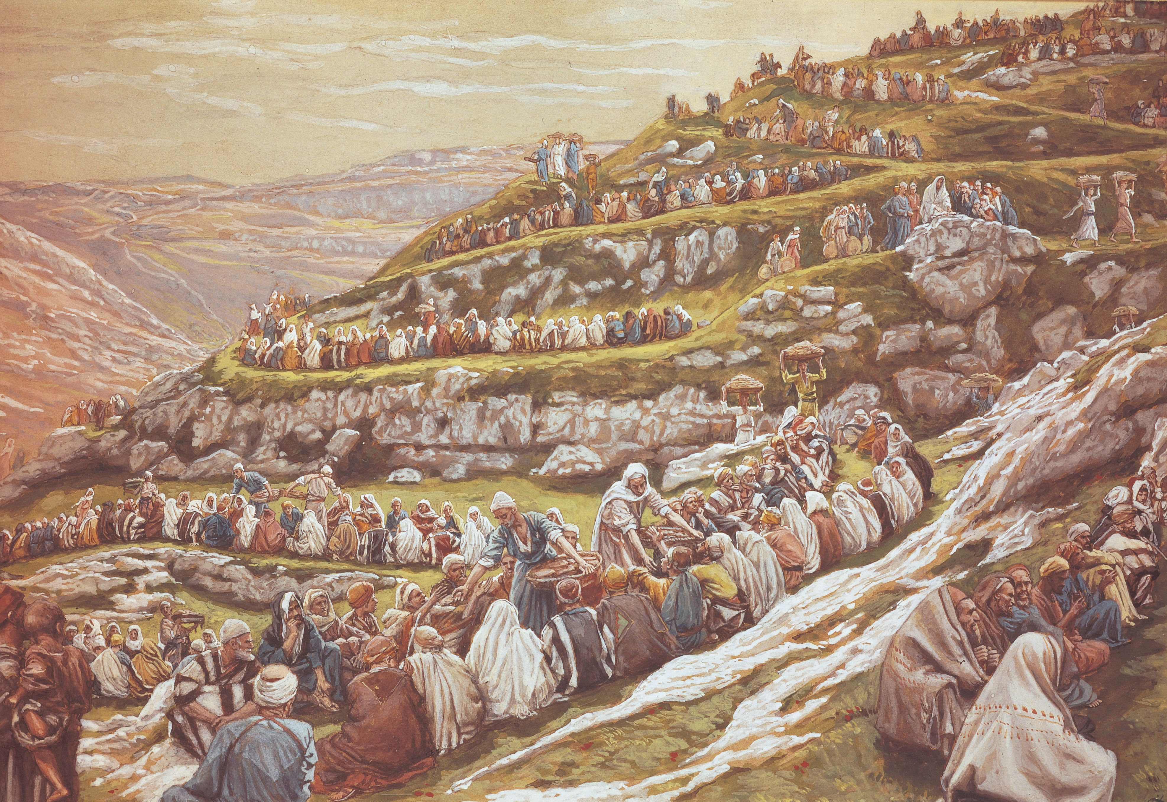 Feeding the Five Thousand (The Miracle of the Loaves and Fishes), by James Tissot (62143); Primary manual 2-47; Primary manual 7-16