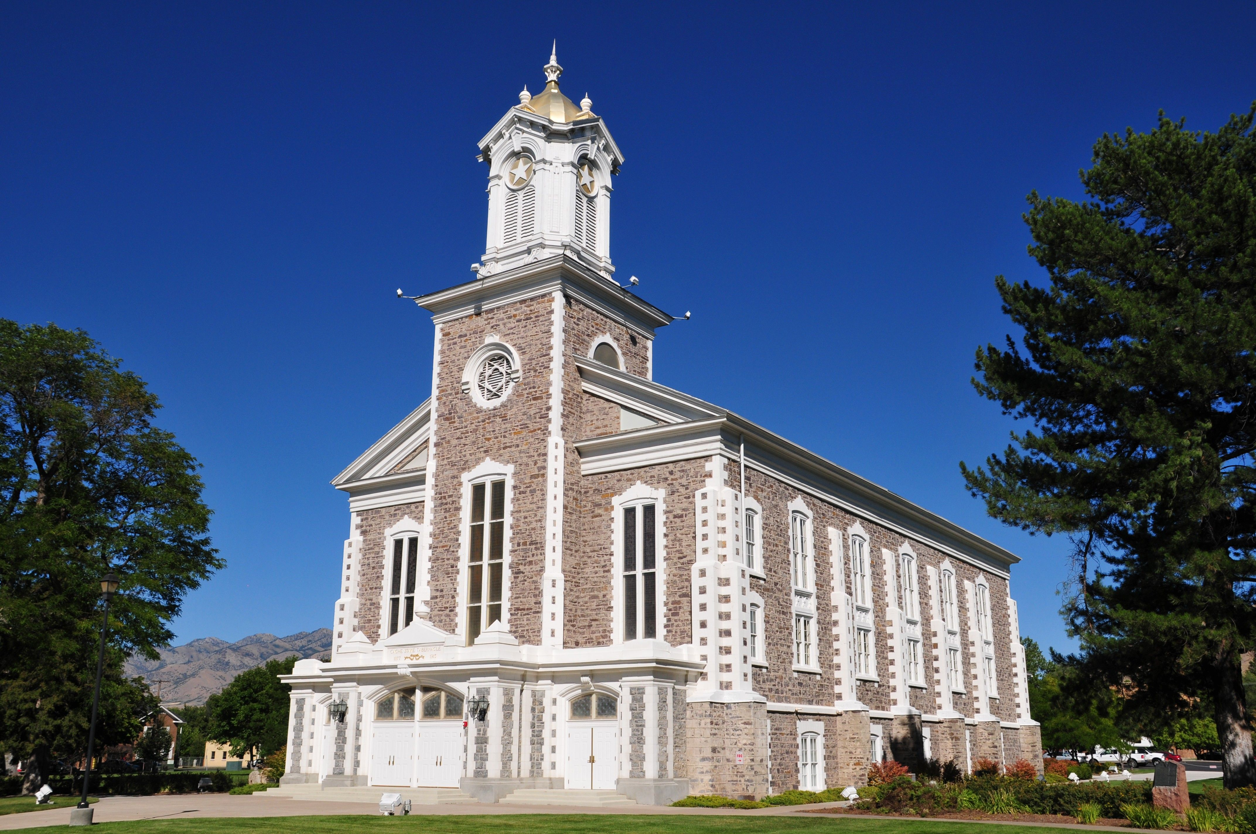A front view of the Logan Tabernacle.