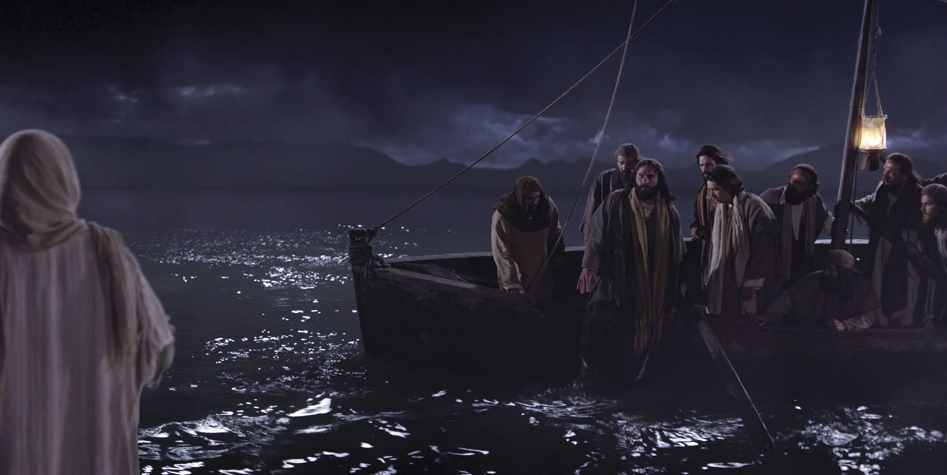 The disciples in their ship see Jesus walking on water.