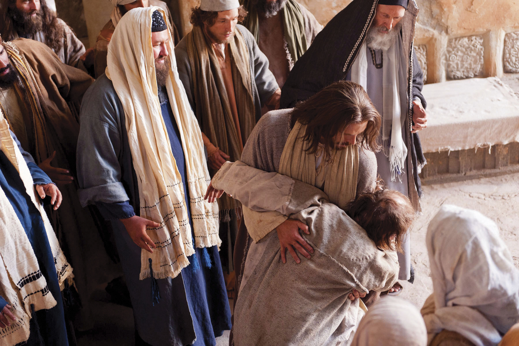 Jesus commands the unclean spirit to leave the man.